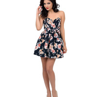 Black Vintage Floral Flirty Strapless Mini Swing Dress