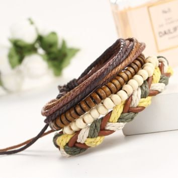 Hot geometric color weaving adjustable friendship handmade multi - layer string beads national wind bracelet