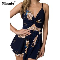Sexy Back Bow Tie Summer Playsuit Women  Off Shoulder Floral Print Beach Bodysuits Rompers Casual Boho Party Short Jumpsuit