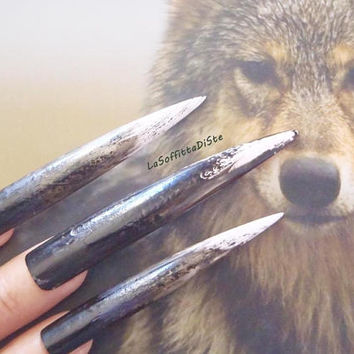 nails halloween werewolf witch zombie wolf talons claws long stiletto nails costume tips goth uñas quirky cosplay men pointy lasoffittadiste