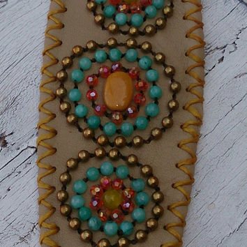 Brown Turquoise Beaded Leather Cuff Bracelet Western Cowgirl Boho Jewelry