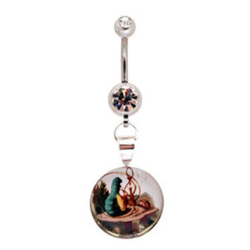 Alice in Wonderland Picture Dangling Belly Ring navel 14g STYLE 4