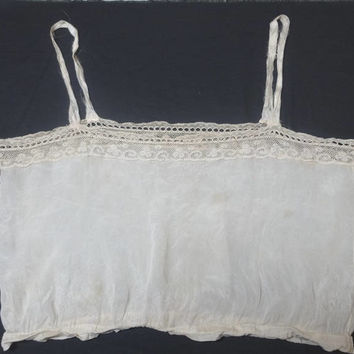 Victorian Antique Silk Camisole or Corset Cover in Ivory with Machine Bobbin Lace Trim, Vintage Clothing, Victorian Lingerie, Underwear
