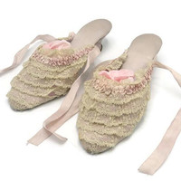 1915 Hand Sewn Silk And Lace Boudoir Slippers Signed And Dated Rare Exquisite