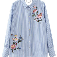 Blue Stripe Embroidery Floral Long Sleeve Shirt