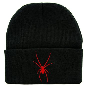 Red Print Black Widow Spider Cuff Beanie Knit Cap Goth Punk