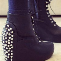 Personality rivet tip PU Leather boots bare Wedges boots from dreamgirl