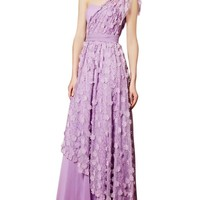 Kingmalls Womens Purple Flower One Shoulder Prom Dress