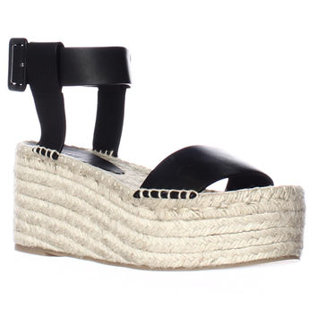Vince Abby Espadrille Wedge Platform Ankle Strap Sandals - Black