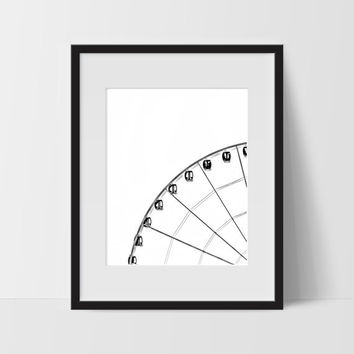 Ferris Wheel Wall Print, Black and White Modern Art, Photography