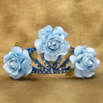 Tiara - Crown - Blue - Hair Accessories - Flower Girl - Princess - Bridal Head Piece - Wedding Headpiece - Blue Wedding - Flower