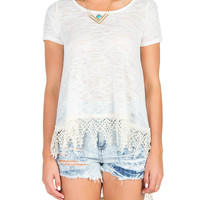 Knit Hi Low Crochet Trim Tee