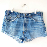 Vintage LEVIS shorts. Cut off denim shorts. Distressed jean shorts. Worn in distressed denim shorts.