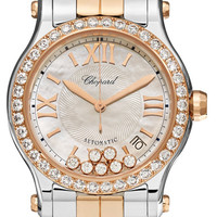 Chopard - Happy Sport 36 18-karat rose gold, stainless steel, diamond and mother-of-pearl watch