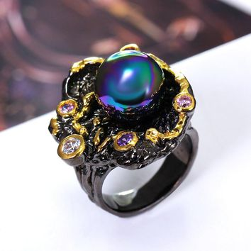 Best Buy Elegant Jewelry Ring with Pearl Multi colorful stone Black Gold-color Fashion Unique Design Party Anniversary Gift Ring