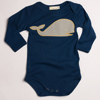 6-12 MTHS Zebi One Piece BLUE WHALE APPLIQUE