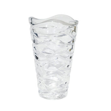 Large, Glass Scalloped Flower Vase / Vintage Crystal / Modern Hollywood Regency Container / Chic, Sophisticated / Home Decor