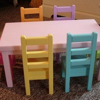 AVAILABLE for APRIL DELIVERY - Doll Dining Table and Chairs Set for American Girl Dolls or 18-inch Dolls