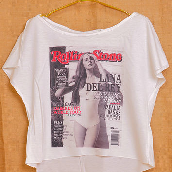 Lana Del Rey Rolling Cover Pop Punk Vintage Lady Women Fashion T shirt Wide Crop Top Free Size