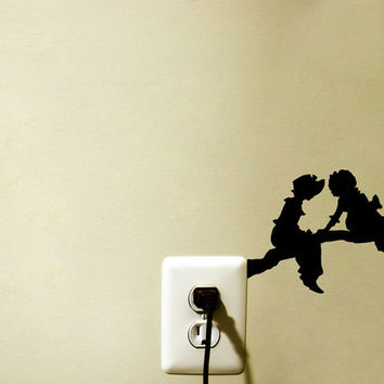 Branch Velvet Wall Decal - Girl Room Wall Decor - Retro Wall Decals - Victorian Wall Art - Girl Silhouette