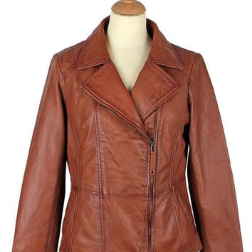 Women's Alden Cognac Leather Jacket