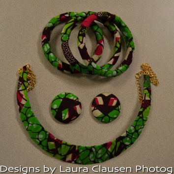 5-piece Green and Pink Ankara  Necklace, Earring, and Bracelet Jewelry Set.