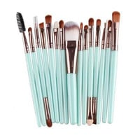 15PCs Wool Makeup Brush Set Tools Toiletry Kit Gift