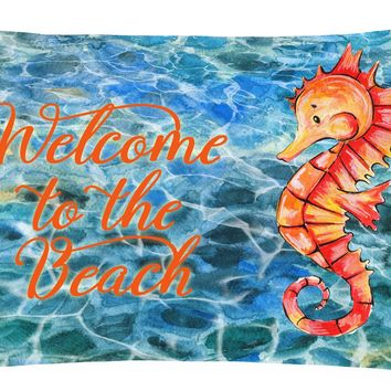 Seahorse Welcome Canvas Fabric Decorative Pillow BB8519PW1216
