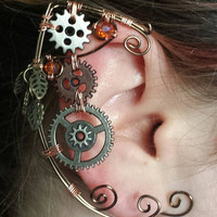 Wire Steampunk Gear Elf Ear Cuff