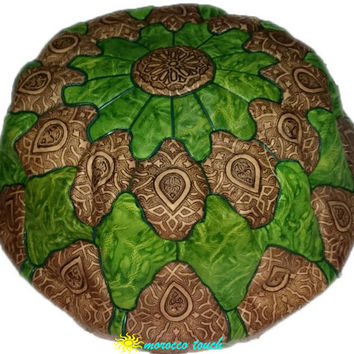 Moroccan Pouf Leather Pouf  green Leather Pillow Ottoman Poof Pouffe Pouffes hassock Footstool Ottomans Foot stool Chair