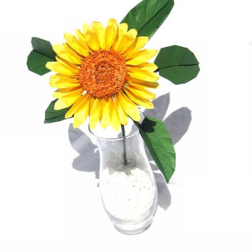 Sunflower , Origami Sunflower , Paper Sunflower , Fake Flower , Hand Crafted Imitation Flower for Mother's Day Gift