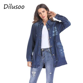 Dilusoo Women Basic Coats Denim Long Jackets Letter Painting Autumn Europe Denim Coats Women Streetwear Loose Casual Winter Coat