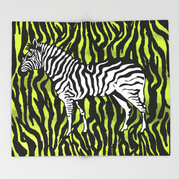 Zebra - animal colour pop art Throw Blanket by Casemiro Arts - Peter Reiss