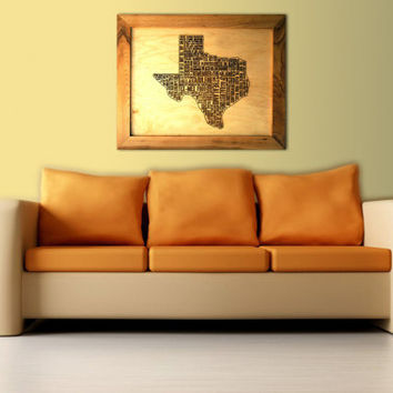 Texas Wooden Framed Word Art Rustic Wall Text Art Man Cave Wood Sign Custom Texas Map Personalized Engraved Unique Gift for Him Birthday