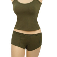 "Olive Drab ""Booty Camp"" Booty Shorts & Tank Top"