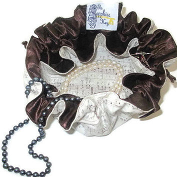 Drawstring Travel Jewelry Pouch / Satchel - Medium - Sheet Music / Notes with Brown Satin