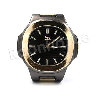 HIP HOP RAONHAZAE MASE BLACK GOLD FINISHED WATCH