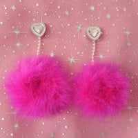 Hot Pink Pom-Pom Earrings