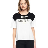 Pitch Black / White Cropped Logo Tee by Juicy Couture,