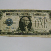 """US Series of 1928 A One Dollar Bill """"Funny Back""""  Silver Certificate Old Collectible Paper Money Woods Mellon Signatures"""