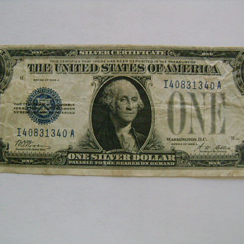 "US Series of 1928 A One Dollar Bill ""Funny Back""  Silver Certificate Old Collectible Paper Money Woods Mellon Signatures"