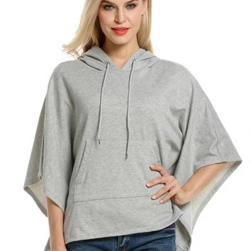 Gray Women Hooded Pullover Casual Batwing Poncho Cape Hoodie Sweatshirt