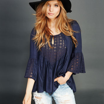 Angie™ Bell Sleeve Peasant Blouse | Wet Seal