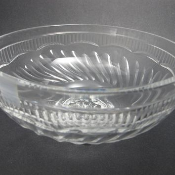 Hand Cut glass bowl hockey crystal signed
