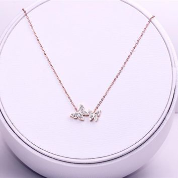 YUN RUO New Arrival Rose Gold Color Crystal Butterfly Pendant Necklace Fashion Titanium Steel Woman Jewelry Birthday Not Fade