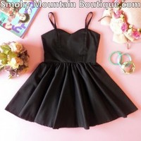 Kids Black Dress with Adjustable Straps - Child's Size - Smoky Mountain Boutique