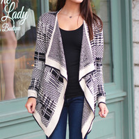 One Chance Metallic Stitch Cardigan {Black Mix}