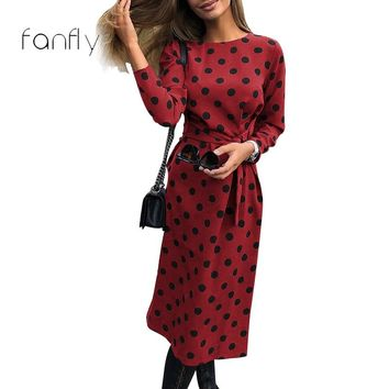 Polka Dot Dress Women Bandage Vintage Dress Party Long Sleeve Striaght Round Neck Women Clothing Winter Dress 2019 SJ1426F