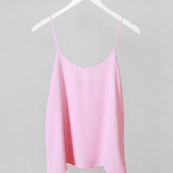 Spaghetti Strap Solid Flowy Crop Top - Light Pink