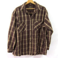 Vintage brown Plaid Flannel / Grunge Shirt / Boyfriend button up shirt / thick cotton flannel / XL